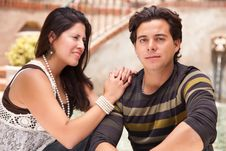 Free Affectionate Hispanic Couple Portrait Outdoors Stock Images - 14745834