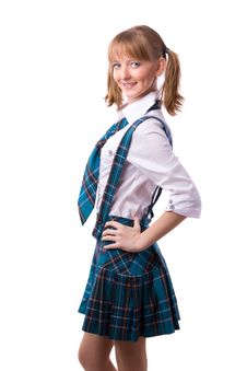 Free Senior High School Student In Uniform Is Posing Royalty Free Stock Photography - 14748867