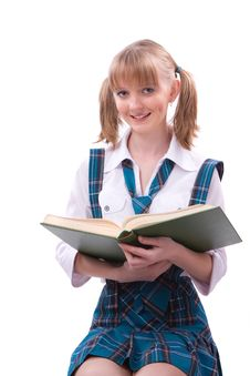 Schoolgirl Is Reading. Stock Image