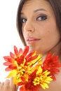 Free Beautiful Latino Woman Holding Flowers Stock Photography - 14752372