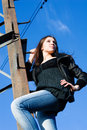 Free Woman On Electrical Tower Stock Photos - 14753513