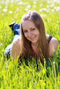 Free Woman On The Green Grass Stock Images - 14759724