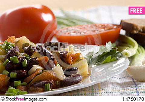 Chinese dish - salad with beans Stock Photo