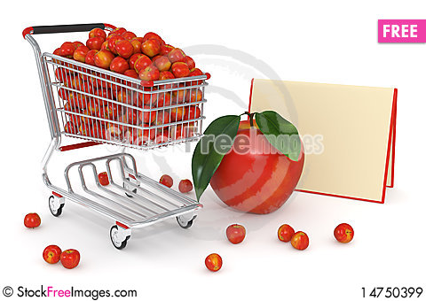 3d Shopping cart full of red apples Stock Photo