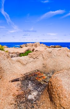 Free Barbecue On Tropical Beach Royalty Free Stock Image - 14750066