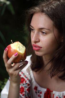 Free Ukrainian Girl With Apple Stock Image - 14750211