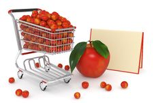 Free 3d Shopping Cart Full Of Red Apples Royalty Free Stock Images - 14750399