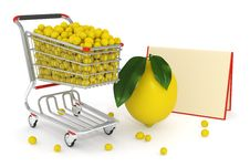 Free 3d Shopping Cart Full Of Yellow Lemons Stock Image - 14750401