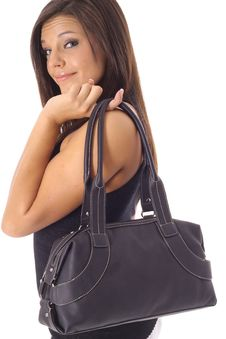 Free Beautiful Girl With Black Purse Royalty Free Stock Photo - 14752125