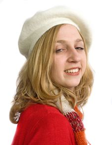 Free Young Woman In White Beret Royalty Free Stock Photography - 14752167