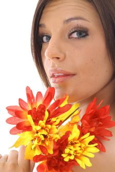 Free Beautiful Latino Woman Holding Flowers Stock Photography - 14752372