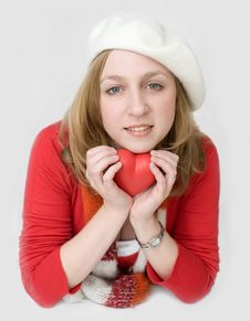 Free Student In White Beret With Heart Stock Images - 14753314