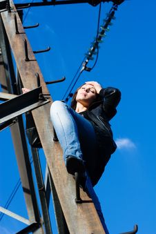 Free Woman On Electrical Tower Royalty Free Stock Image - 14753586