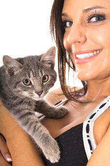Free Gorgeous Woman With Kitty Royalty Free Stock Photos - 14753768