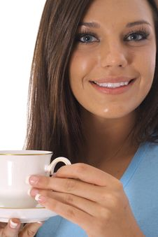 Free Beautiful Model Having A Cup Of Coffee Royalty Free Stock Image - 14753876