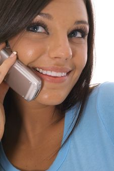 Free Brunette Talking On The Phone Stock Image - 14753911