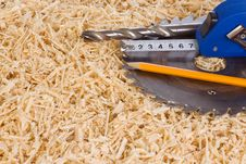 Tape Measure And Sawdusts Stock Photography