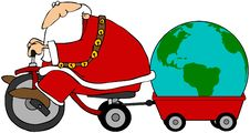 Free Santa Pulling A Globe In A Wagon Stock Image - 14754601