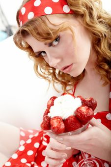 Free Young Woman Eating Strawberries Stock Photos - 14755093