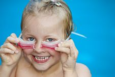 Free Young Pretty Girl In Swimming-pool Holding Googles Royalty Free Stock Photo - 14755165