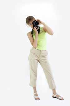 The Girl With The Camera Royalty Free Stock Images