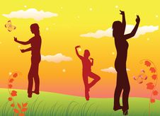 Free Young Girls On The Hill And Sunset Vector Royalty Free Stock Photos - 14756068