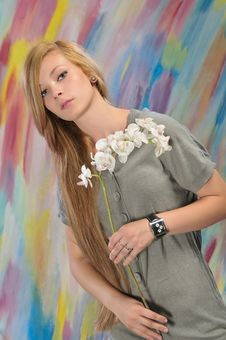 Portrait Of Beautiful Girl With White Orchid Royalty Free Stock Image