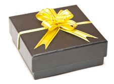 Free Black Gift Box With Golden Ribbon Stock Photos - 14756503