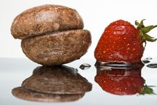 Free Honey Cake And Wet Fresh Strawberry Stock Photography - 14757132