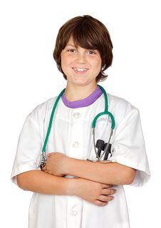 Free Adorable Boy With Clothes Of Doctor Isolated On Wh Royalty Free Stock Images - 14757639