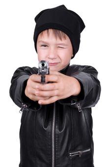 Free Young Boy Pointing Gun Royalty Free Stock Photo - 14758095