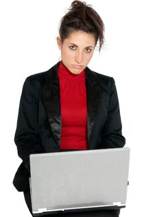 Free Young Businesswoman Tired About Laptop Isolated Stock Photography - 14758742