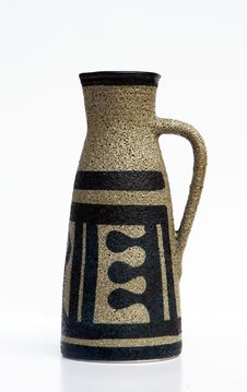 Israeli  Ceramic Jug In Retro Style  On White Stock Photos