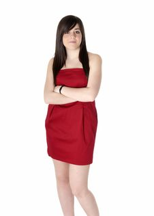 Free Young Woman Beautiful With Red Dress Isolated Stock Photography - 14758832