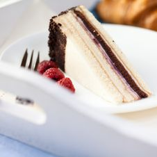 Free Cake With Raspberries On White Tray Stock Photo - 14758930