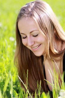 Free Woman On The Green Grass Stock Image - 14759671