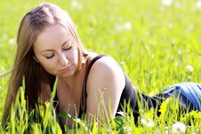 Free Woman On The Green Grass Stock Photography - 14759692