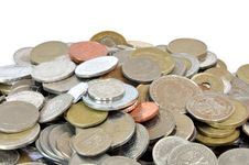 Coins From All Around The World Royalty Free Stock Photos
