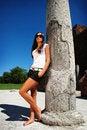 Free Fashion Model Posing Near Ruin. Royalty Free Stock Photography - 14766247