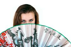 The Girl With Fan Royalty Free Stock Photography
