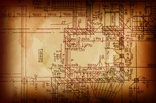 Free Vintage Architectural Drawing Royalty Free Stock Photos - 14761638