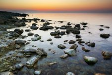 Free Sea And Rock At The Sunset Stock Image - 14762371