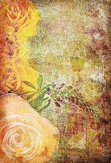 Roses On The Old Grunge Texture Royalty Free Stock Photo
