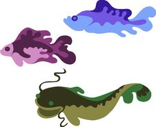 Free Colored  Illustration Of Three Fishes Stock Image - 14764751