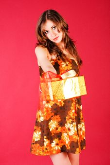 Free Beautiful Young Girl In Dress With A Gift Stock Images - 14765044