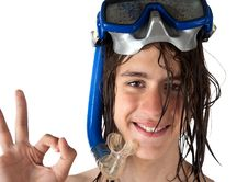 Free Teenager Diver Showing Ok Royalty Free Stock Images - 14766829