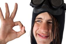 Free Teenager Diver Showing Ok Stock Photos - 14766843