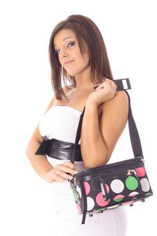 Woman With A Makeup Bag Stock Images