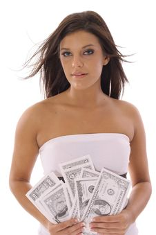 Free Gorgeous Model Showing Off Money Royalty Free Stock Photo - 14767005