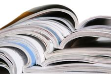 Free Open Magazines On A White Background Stock Photography - 14770092